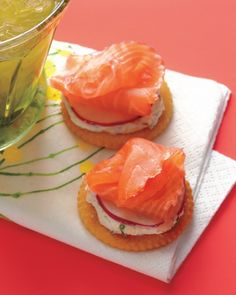 Smoked Salmon & Cracker Appetizers - cream cheese, chives, horseradish, salt and pepper, Ritz crackers, radishes, smoked salmon