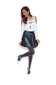 90bad8d632 Shine twice as bright in a metallic skirt and glittery tights. A studded  top adds the perf amount of edge to the glam look.