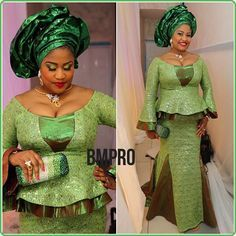 Beautiful Green Aso Ebi Styles For That Owambe Party Nigerian Lace Styles, African Lace Styles, African Dresses For Women, African Men Fashion, Africa Fashion, African Attire, African Wear, African Fashion Dresses, African Women