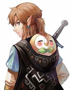 Link and Rowlet.: zelda