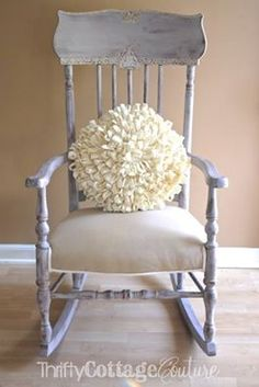 A lovely chair painted with Paloma Chalk Paint® decorative paint by Annie Sloan - Details accented with Old White & Pure White | By Thrifty Cottage Couture http://www.thriftycottagecouture.com/