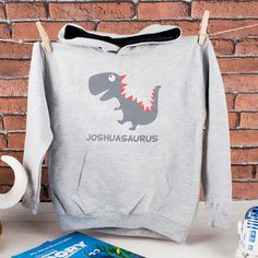 Personalised Kids Hoodie - Grey Dinosaur | GettingPersonal.co.uk