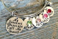 Personalized Alex and Ani Style Bracelet-My Greatest Blessings Call Me Mom/Grandma-Adjustable Wire Bracelet-Hand Stamped Jewelry-