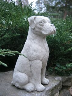 Boxer Dog Concrete Statue by WestWindHomeGarden on Etsy,