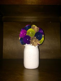 Rich & Royal Fall Bouquet - In A Hand Painted Cream Mason Jar! by SisterActDesigns on Etsy https://www.etsy.com/listing/471568623/rich-royal-fall-bouquet-in-a-hand