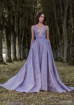 Hand-appliqued lavender embroidered tulle ballgown - Paolo Sebastian