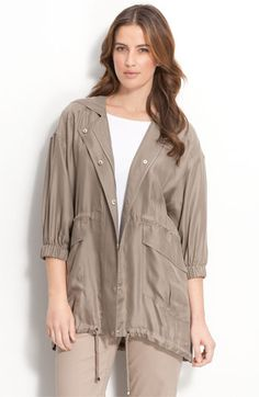 Nordstrom Collection Hooded Silk Twill Anorak | Nordstrom