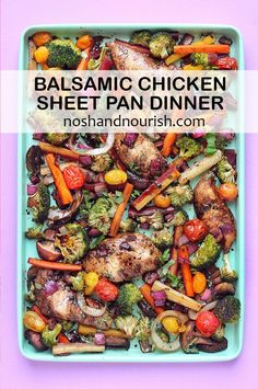 Looking for healthy and easy dinners? This Balsamic Chicken Sheet Pan Dinner is exactly what you need! This recipe uses carrots, mushrooms . Lunch Meal Prep, Easy Meal Prep, Easy Delicious Recipes, Healthy Dinner Recipes, Healthy Food, Photo Food, Recipe Sheets, Sheet Pan Suppers, Meal Prep For The Week