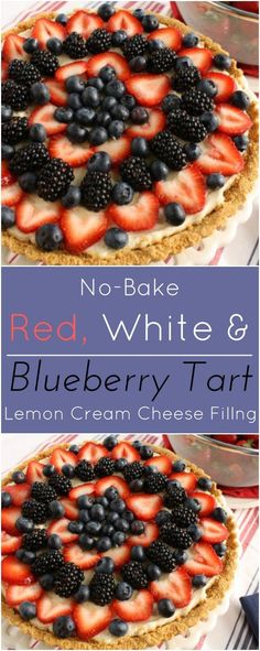 No-bake Red, White and Blueberry tart with lemon cream cheese filling.