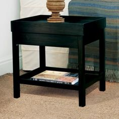 Low Side Table with Storage, Dark Brown