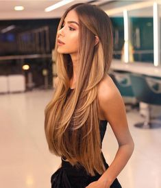 Pin by taylor on beauty in 2019 balayage hair, hair styles, dyed hair. Balayage Long Hair, Ombre Hair, Long Hair Highlights, Balayage Hairstyle, Gold Highlights, Brunette Hair, Blonde Hair, Hair Looks, Hair Inspiration