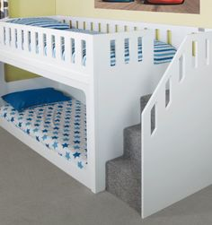 Deluxe Funtime Bunk Bed With Stair Drawers - Bunk Beds - Kids Beds - Kids Funtime Beds Bed Stairs, Bunk Beds With Stairs, Cool Bunk Beds, Toddler Bunk Beds, Kid Beds, Cool Beds For Kids, Kids Fun, Kids Bed Design, Kid Bedrooms