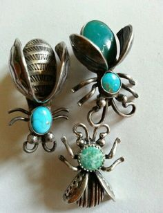 Vintage Sterling Silver Turquoise Pin Insect Lot Bug Bee Fly Ladybug Southwest