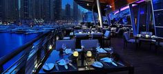 Night time view from a restaurant at Dubai Marina Yacht Club