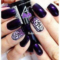 Dark Purple Nails with Swirls Designs. http://forcreativejuice.com/chosen-purple-nail-art-designs/