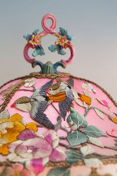Christine Kilger Lamps - Detail of Pink Chinoiserie Lampshade with Embroidery.