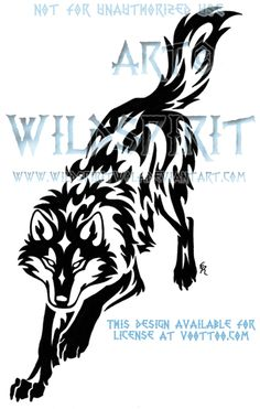 Downward Leaping Wolf Tribal by WildSpiritWolf.deviantart.com