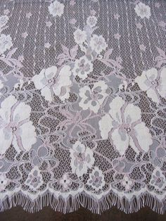 designer fabric eyelash edging lace peach and vanilla by fabricniche, $38.00
