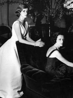 Dolores Guinness and her mother, Gloria Guinness, photographed wearing Balenciaga by Henry Clarke for Vogue Paris, 1957.