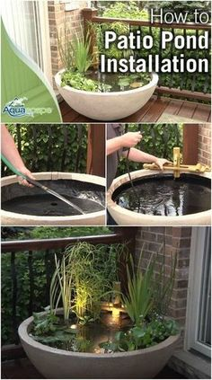 Creative Casa: Backyard Pond Ideas for your home. Beautiful Planted Zen Container Pond garden decor Creative Casa: Backyard Pond Ideas for your home. Patio Pond, Diy Pond, Ponds Backyard, Backyard Landscaping, Garden Ponds, Backyard Ideas, Pergola Ideas, Backyard Patio, Fountain Garden