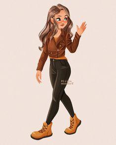 Girl Drawing Sketches, Cute Girl Drawing, Cartoon Girl Drawing, Cool Art Drawings, Cartoon Drawings, Cute Art Styles, Cartoon Art Styles, Mode Poster, Applis Photo