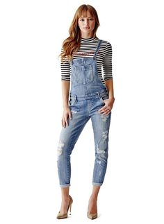 b35d7fcd64de awesome GUESS Women s Carlie Slim-Fit Overalls in Newspaper Destroy Wash