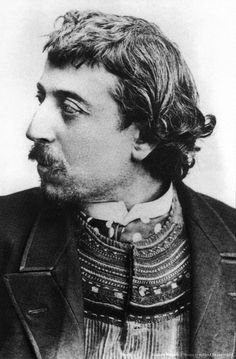Paul Gauguin (1848-1903) french painter here in Copenhague in march 1891 with a breton cardigan, self-portrait dedicated to Carriere École de Pont-Aven Finistère Bretagne
