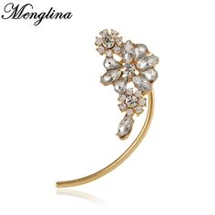 Menglina New Punk Metal Gold Ear Cuff for Women Fashion Full Rhinestone Crystal Flower Clip Earrings Without Piercing Wholesale