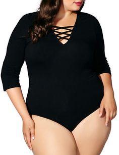 Mblm By Tess Holiday Plus Three-Quarter-Sleeve Criss-Cross Strap Bodysuit