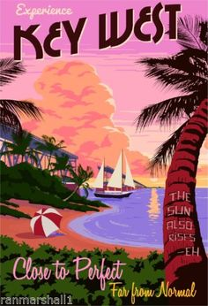 Experience Key West Florida United States America Travel Advertisement Poster | eBay