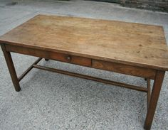 Antique Refectory Table With Excellent Width A Pale Beech Table