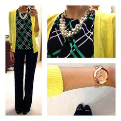 Liz Claiborne Sleeveless Bubble Top via JCP, NY&Co cardi & pant(in navy), F21 necklace, NY&C watch (in rose gold), Jessica Simpson pumps(in black)