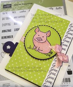 Welcome again to our Stampin Sunday blog hop! I know you are going to love all the designs for todays hop! This bundle was originally ... This Little Piggy, Little Pigs, Tove Love, Slider Cards, Kids Birthday Cards, Animal Cards, Stamping Up, Stampin Up Cards, Cardmaking