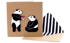 Handmade Birthday Card  Cute Animal Panda Card on door TacheCrafts