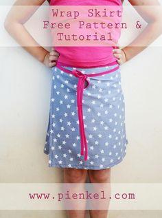 free pattern wrap skirt I Wickelrock size 6 Sewing Patterns For Kids, Sewing For Kids, Free Sewing, Clothing Patterns, Skirt Pattern Free, Free Pattern, Sewing Clothes, Diy Clothes, Wrap Skirt Tutorial