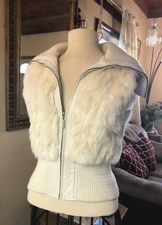 HEART MOON STAR Creamy White Zip Up  Leather/Rabbit Fur Vest Size S New #HeartMoonStar #ZipUpVest #AnyOccasion