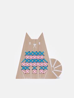 Cross Stitch Cat - DIY wooden craft toy for kids