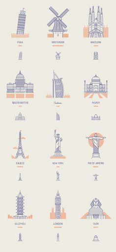 一組世界標誌性建築由莊家公司創建12行圖標。