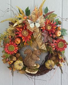 Fall Grapevine Wreath Squirrel Wreath by TheChicyShackWreaths