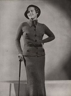 PDF of Minerva's Dixville Two Piece Suit Knitting Pattern No. 3618, c. 1934