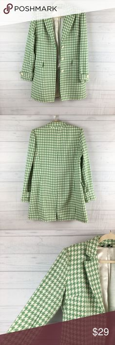"""ZINC Houndstooth Pea Coat. ZINC Green and Ivory Houndstooth Pea Coat. Size: large. Very nice pre-owned condition. Lined. Shoulder to shoulder: 16"""". Pit to pit: 19"""". Waist: 27"""". Length:32"""". #222 Zinc Jackets & Coats Pea Coats"""