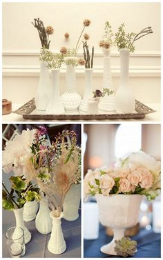 milk glass vases. milk glass is my new favorite collecting item. and I have an antique tray almost exactly like the one in the top picture. I think i'll use it :)