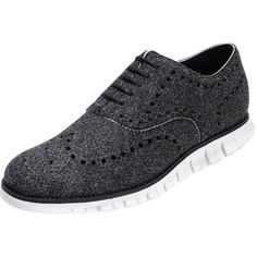 Cole Haan Zerogrand Wing-Tip Wool Oxford Shoe (900 BRL) ❤ liked on Polyvore featuring men's fashion, men's shoes, men's dress shoes, black, mens perforated shoes, mens wingtip shoes, mens oxford shoes, mens black oxford shoes and mens wing tip shoes