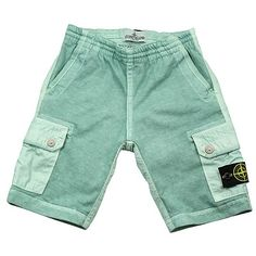 Stone Island Mint Green Boys Shorts - DesignerChildrenswear.com