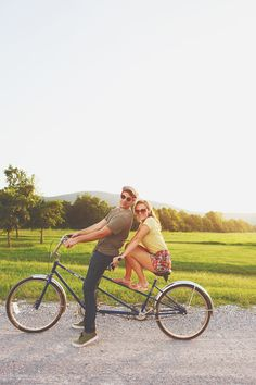 Engagement pics. Gotta love the tandem bike. Perfect!
