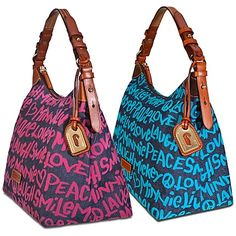 Denim print Dooney and Bourke purses.....Peace is the word!