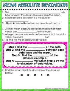Mean Absolute Deviation Digital Interactive... by To the Square Inch- Kate Bing Coners   Teachers Pay Teachers