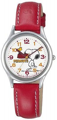 CITIZEN Q & Q watch PEANUTS Snoopy analog display Red AA95-9852 Ladies JAPAN F/S