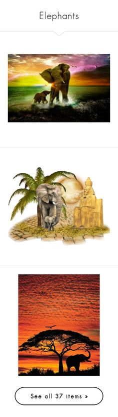 """Elephants"" by callmerose ❤ liked on Polyvore featuring elephants, animals, animaux, backgrounds, elephant, africa, fade, african, pictures and green"