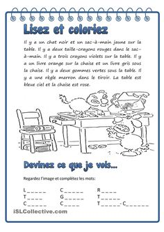 Lisez et coloriez Classroom Behavior, Special Education Classroom, Kids Education, French Language Lessons, French Lessons, French Worksheets, Core French, Writing Notebook, French Classroom